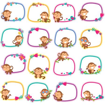 happy monkey layout design Vector