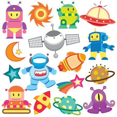 cartoon rocket: outer space and robot clip art set