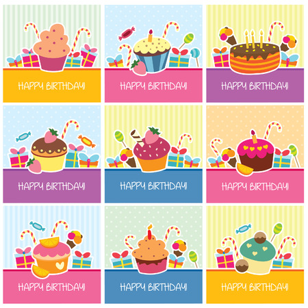 birthday cupcakes greeting cards design Vector
