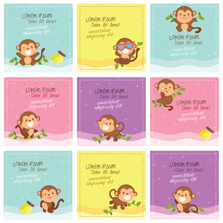 cute monkey layout design Vector