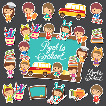 Back to school big collection set Vector