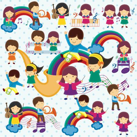 concert op regenboog illustratie van kinderen Stock Illustratie
