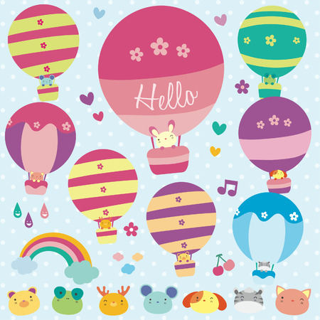 Animals hot air balloon illustration Vector