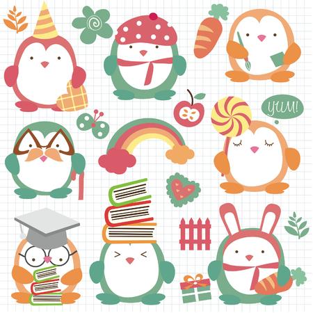 cute penguin set clip art 免版税图像 - 29462191