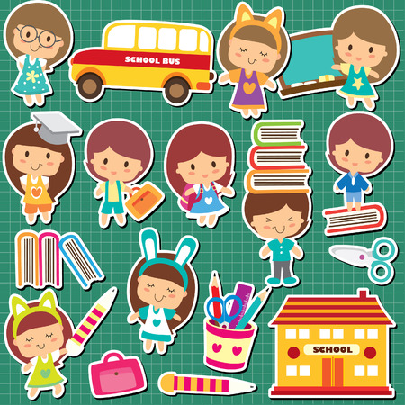 studious: school kids clip art