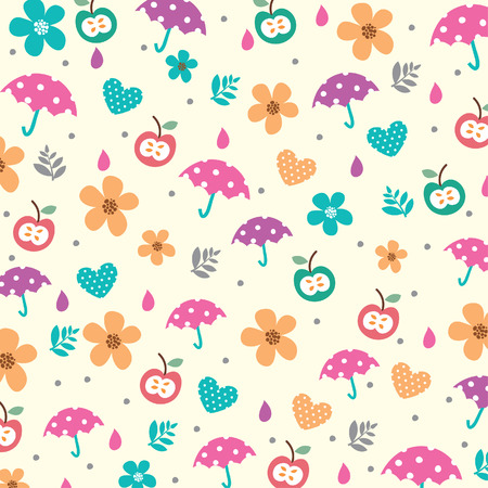 umbrellas and flowers in spring illustration