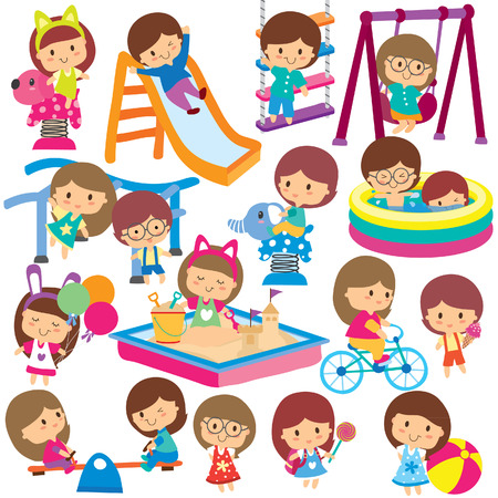 actividades recreativas: niños en el patio de recreo conjunto de imágenes prediseñadas Vectores