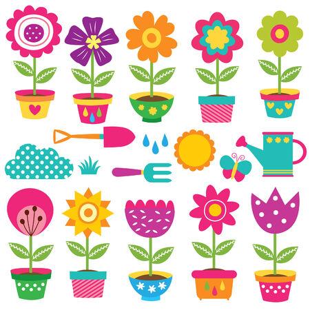 植木鉢および園芸工具のクリップ アート セット  イラスト・ベクター素材