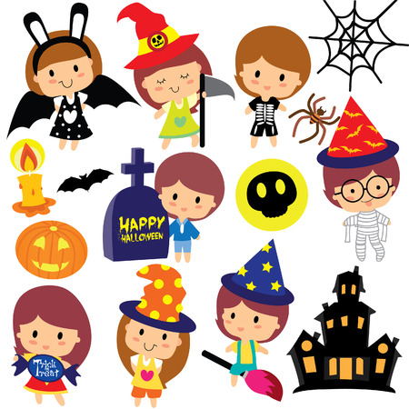 halloween kids clip art set 矢量图像