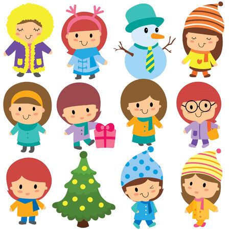 cute winter kids clip art set 矢量图像