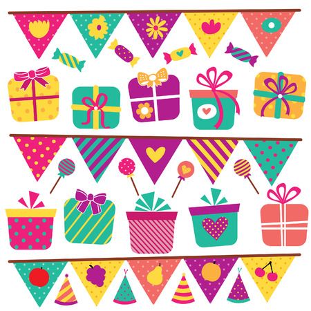 party gifts and elements clip art set 矢量图像