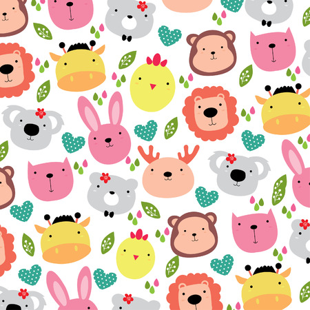 cute animals head background design 矢量图像