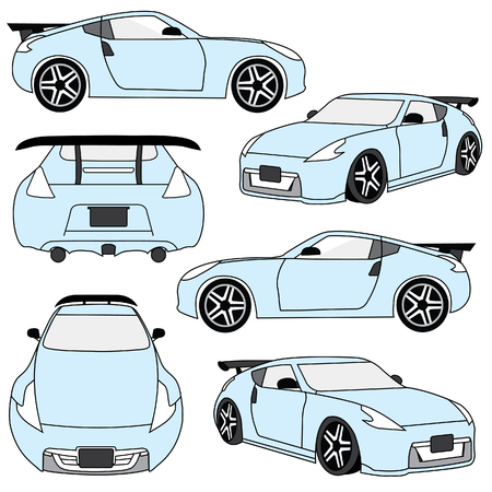 sport car in different perspective design 矢量图像