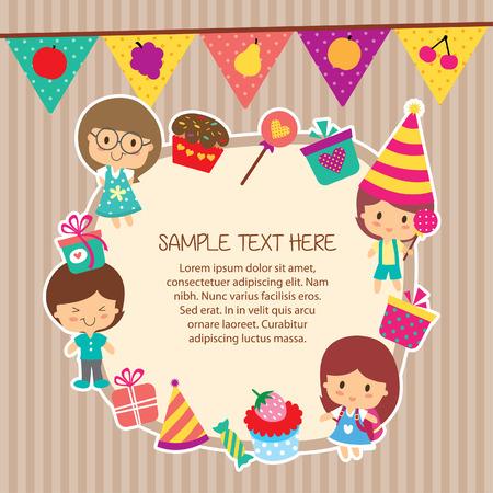 kids party layout frame design Illustration