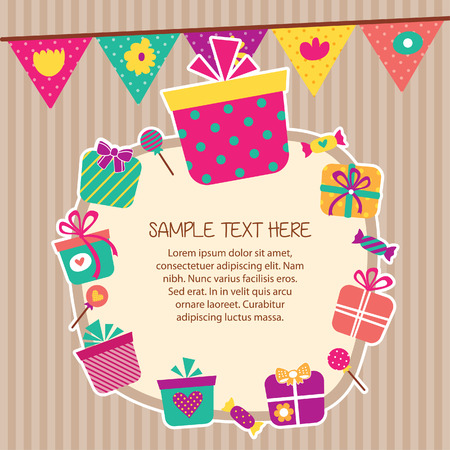 birthday presents layout frame design