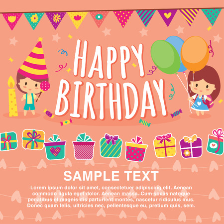 birthday kids layout design 矢量图像
