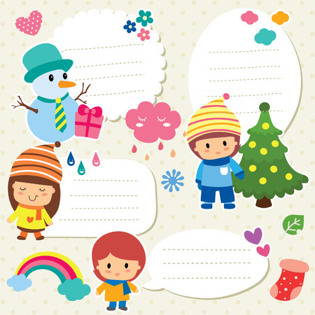christmas kids text box design 矢量图像