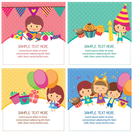 kids birthday design layout 矢量图像