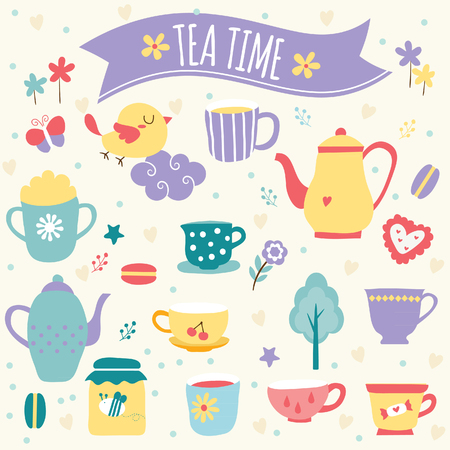 tea time clip art Vector