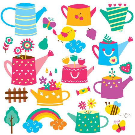 flower pot: watering can flower pot clip art set
