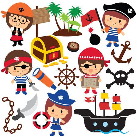 treasure map: piratas niños de clip art Vectores