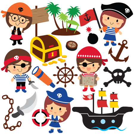 and activities: pirates kids clip art Illustration