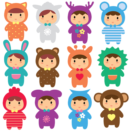 animal kids clip art set 矢量图像