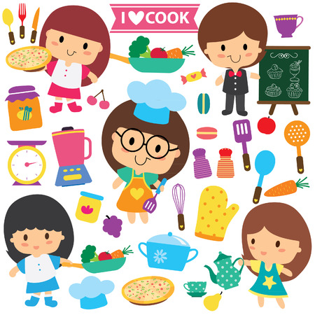 kitchen cooking: chef kids and kitchen elements clip art set