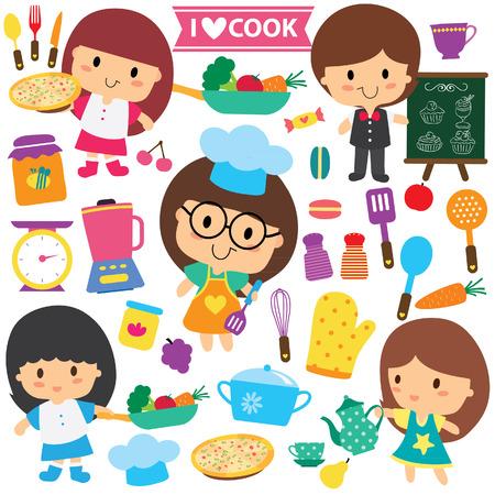 ustensiles de cuisine: chef les enfants et les éléments de cuisine set clip art