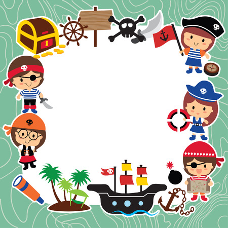 pirates kids layout design Vector