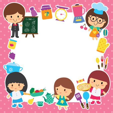 healthy kid: food preparation and kids layout design Illustration