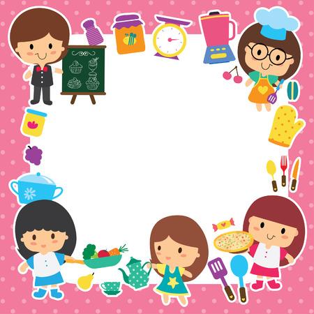 cliparts: voedselbereiding en kinderen lay-out ontwerp Stock Illustratie