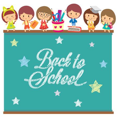 back to school chalkboard layout design Stock Vector - 32857321