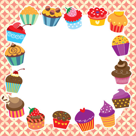 cupcakes layout design Vector