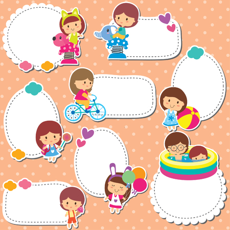kids playground: playground kids text box design Illustration