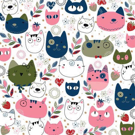 hand drawn kitty cat wallpaper illustration