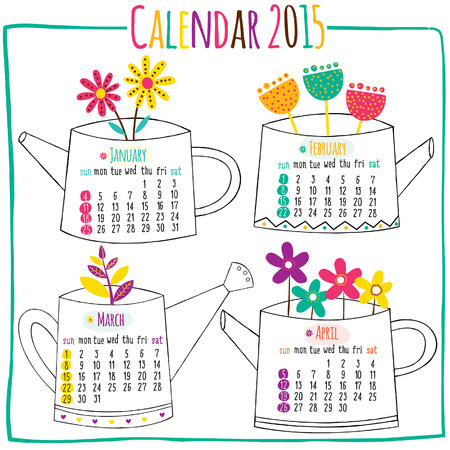 calendar 2015-January, February, March, April