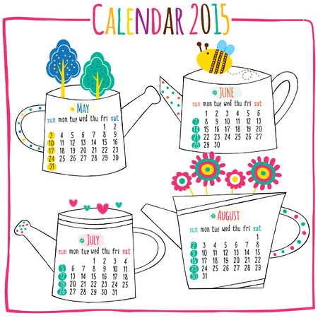 calendar 2015-May, Jun, July, August 矢量图像