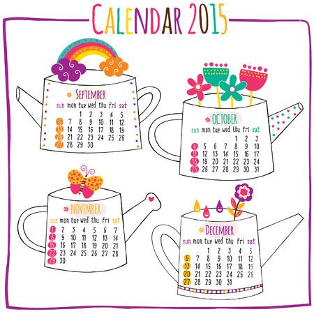 calendar 2015-September, October, November, December