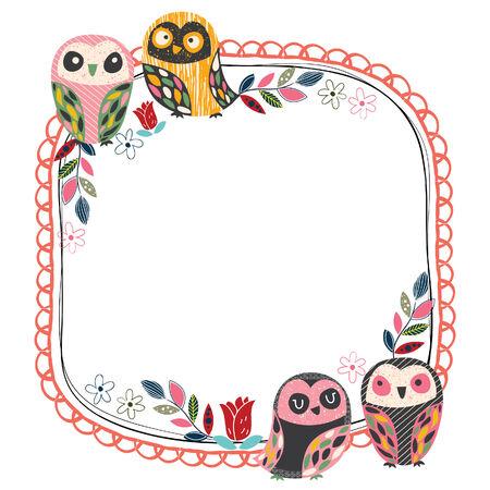 vintage owl frame layout 1