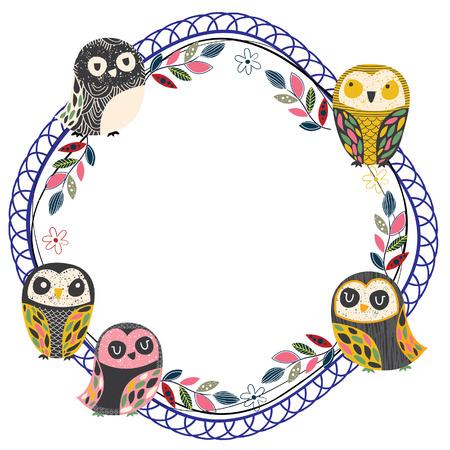 vintage owl frame layout 3