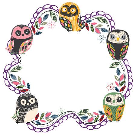 vintage owl frame layout 4