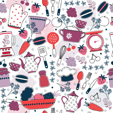 seamless kitchen wallpaper design Vector