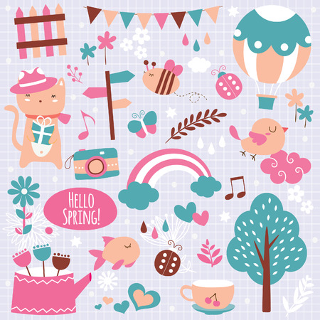 spring season clip art elements