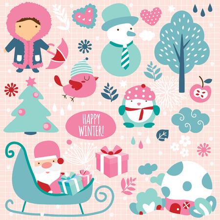 winter season clip art elements Stock Vector - 33590723