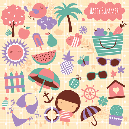 summer season clip art elements 矢量图像