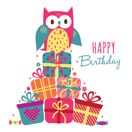 Birthday owl and gift illustration