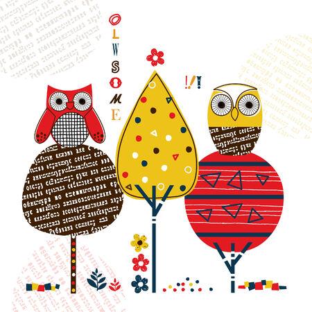 owls on tree illustration