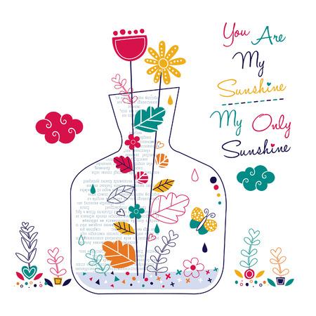 plants in bottle illustration Illustration