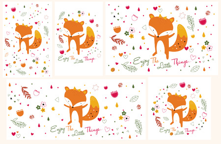 fox illustration set (horizontal and vertical in size) 矢量图像